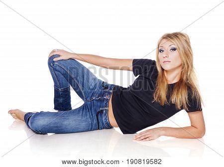 Blond Woman Lying