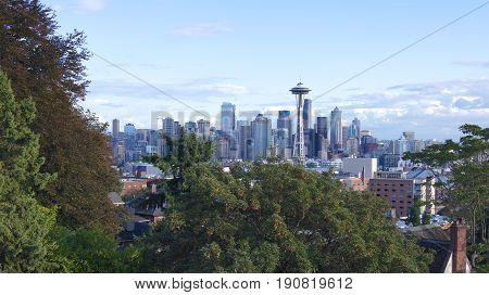 SEATTLE, WASHINGTON STATE, UNITED STATES - OCTOBER 10, 2014: Skyline panorama view from Kerry Park during the day.
