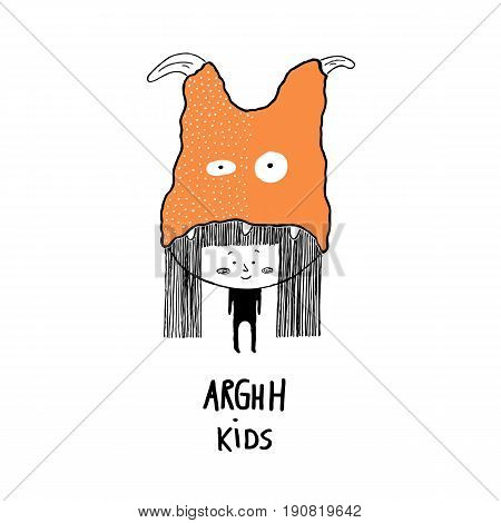 Arghh kidschild with a monster hat. Hand drawn vector illustration