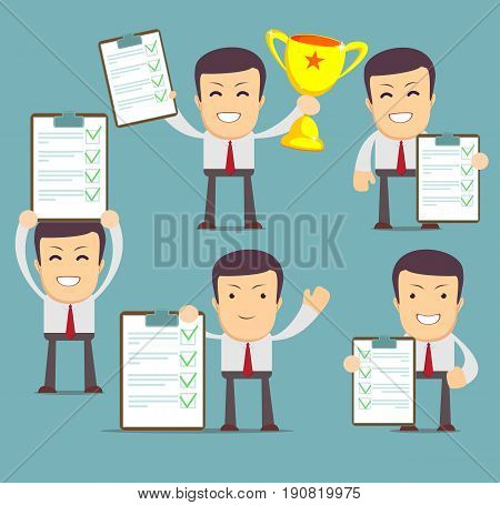 Cartoon human character holding a questionnaire with green tick. Set . social media marketing concept. vector illustration in flat design on city background