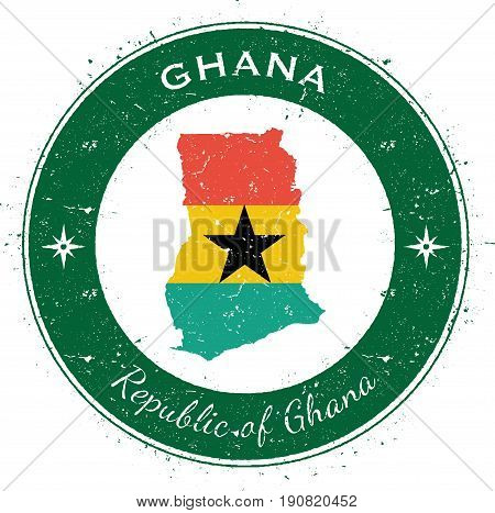 Ghana Circular Patriotic Badge. Grunge Rubber Stamp With National Flag, Map And The Ghana Written Al