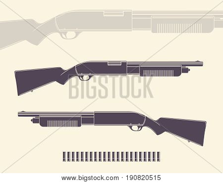 Shotgun, hunting rifle with shells and silhouette, eps 10 file, easy to edit