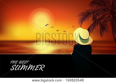 Elegant woman in hat standing on the beach and looking at sea. Summer background vogue style. Vector illustration