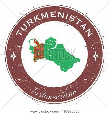 Turkmenistan Circular Patriotic Badge. Grunge Rubber Stamp With National Flag, Map And The Turkmenis