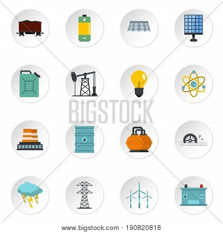 Energy sources icons set in flat style isolated vector icons set illustration