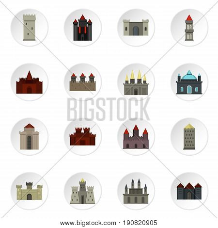 Towers and castles icons set in flat style isolated vector icons set illustration