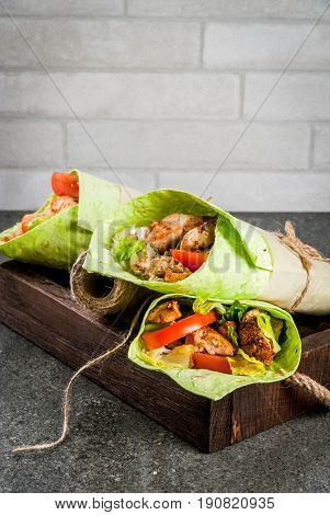 Wrap Sandwich With Green Tortillas