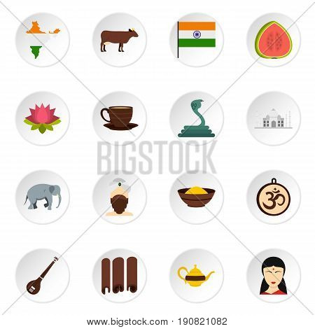 India travel icons set in flat style isolated vector icons set illustration