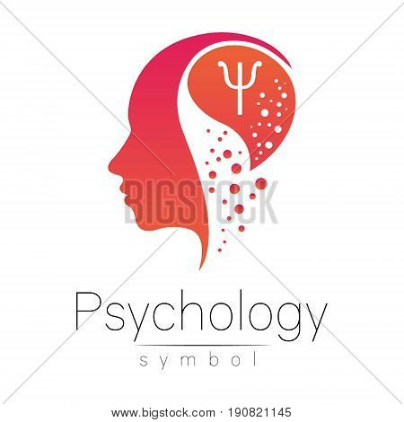 Modern head sign of Psychology. Profile Human. Letter Psi. Creative style. Symbol in vector. Design concept. Brand company. Pink color isolated on white background. Icon for web