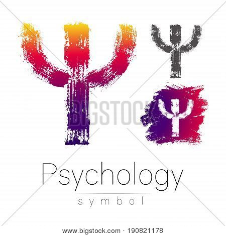 Modern logo of Psychology. Psi. Creative style. Logotype in vector. Design concept. Brand company. Pink color letter on white background. Symbol for web, print, card, flyer. Bright brush stroke