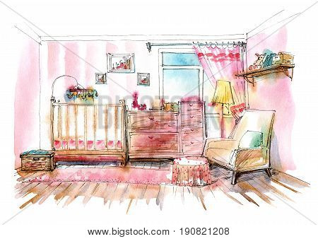 Children's bedroom. Interior of a room newborn girl.Watercolor hand drawn illustration.