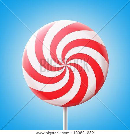Vector big round spiral red and white lollipop on stick isolated on blue background