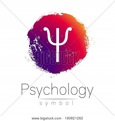 Modern logo of Psychology. Psi. Creative style. Logotype in vector. Design concept. Brand company. Pink color blot and letter on white background. Symbol for web, print, card, flyer. Brush stroke.