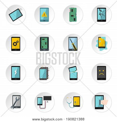 Device repair symbols icons set in flat style isolated vector icons set illustration