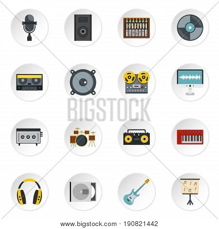 Recording studio items icons set in flat style isolated vector icons set illustration