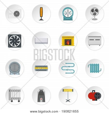Heating cooling air icons set in flat style isolated vector icons set illustration