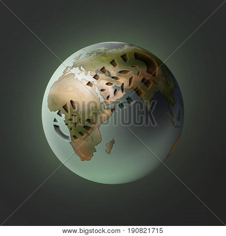 Vector illustration of planet Earth with footprint on dark background