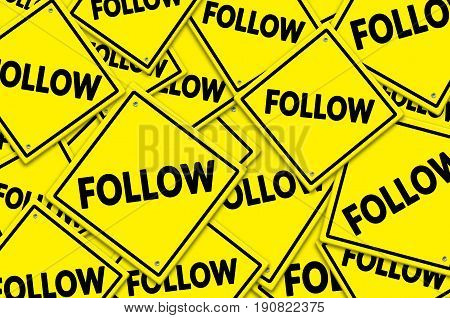 Follow yellow road signs. Social networking concept.