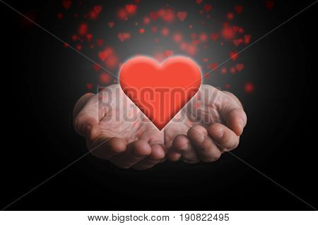 Hands giving red heart. Love or charity concept.