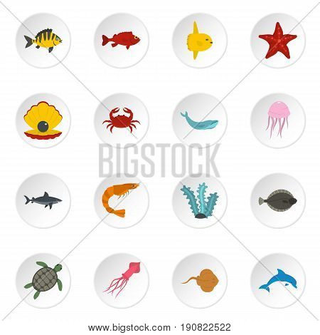 Sea animals icons set in flat style isolated vector icons set illustration