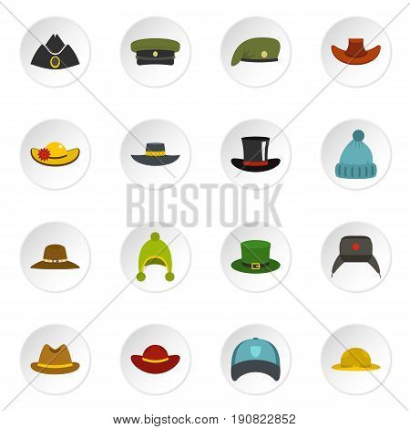 Headdress hat icons set in flat style isolated vector icons set illustration