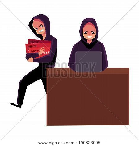 Hacker using laptop for cybercrime, breaking pin code, stealing money from credit card, cartoon vector illustration isolated on white background. laptop hacking, breaking, cracking, credit card fraud