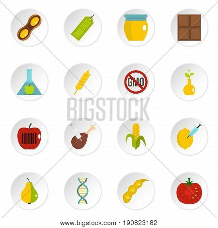 GMO icons set in flat style isolated vector icons set illustration