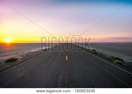 Road to Bonneville Salt Flats in the morning