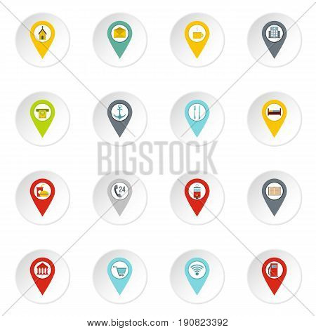 Points of interest icons set in flat style isolated vector icons set illustration