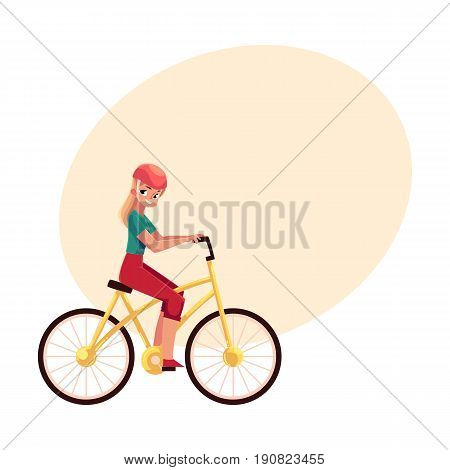 Young pretty blond woman, girl riding a bicycle, cycling, cartoon vector illustration with space for text. Full length, side view portrait of young long haired woman riding a bicycle, cycling