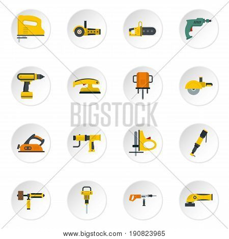 Electric tools icons set in flat style isolated vector icons set illustration