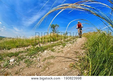 Young attractive cyclist rides on the road in the field in summer season. Sportsman in the sportwear, with helmet and sunglasses. Horizontal photo. Extreme travel in the countryside. Concept of the healthy lifestyle.