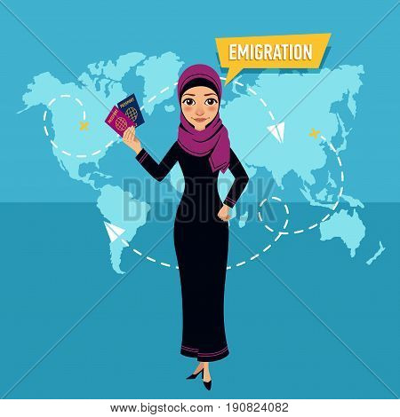 Woman is standing and holding passports in front of world map. Employee of company is engaged in emigration. Emigration concept.