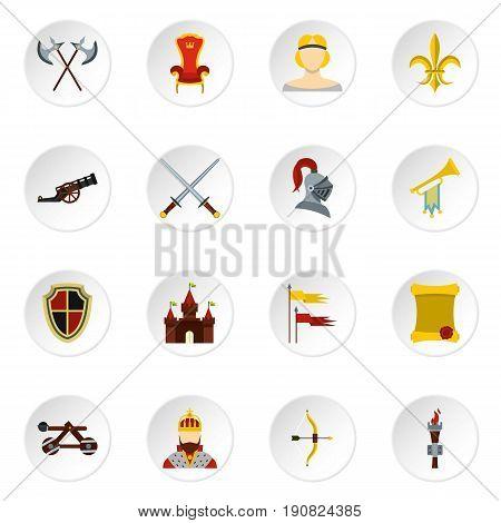 Knight icons set. Flat illustration of 16 knight vector icons set illustration