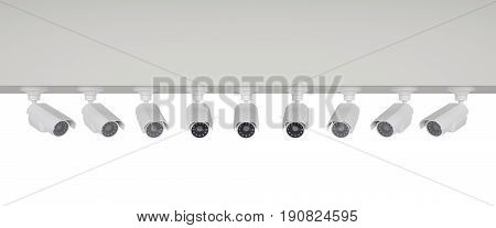 group of surveillance cameras sent to the center. 3d rendering