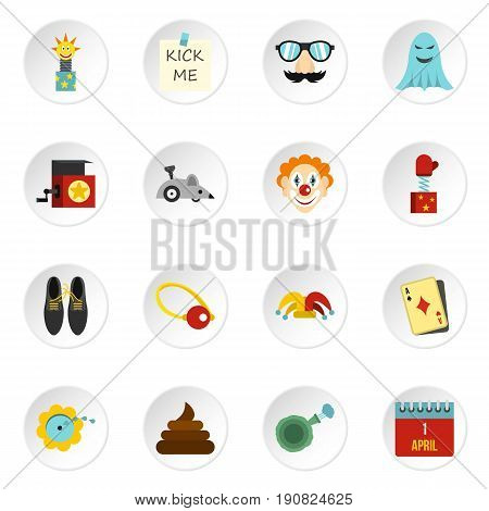 April fools day icons set in flat style. Prank playful actions set collection vector icons set illustration