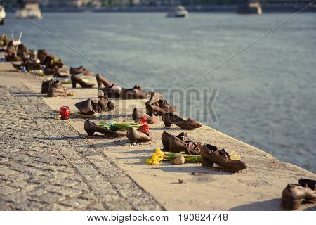 Monument to the fallen in World War II Jews on the Danube embankment in Budapest, Hungary.