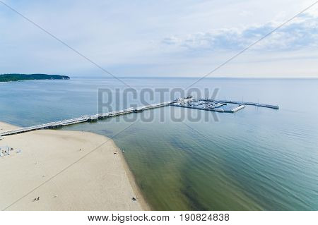 Aerial view of the long wooden pier of Sopot Poland