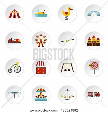 Amusement park icons set in flat style. Attraction park set collection vector icons set illustration