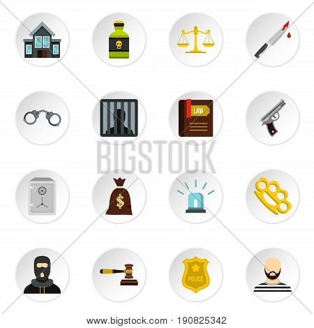Crime and punishment icons set in flat style. Law and order set collection vector icons set illustration
