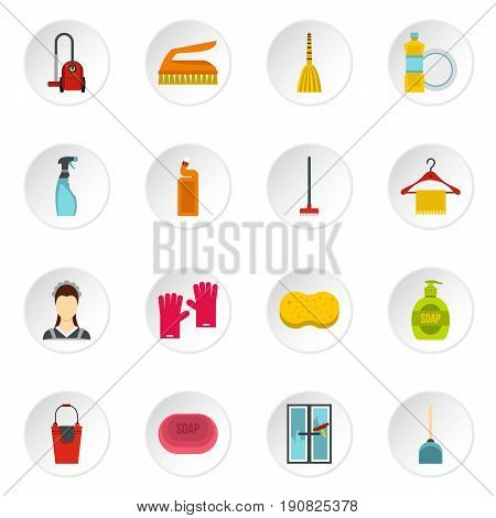 House cleaning icons set in flat style. Maid service set collection vector icons set illustration