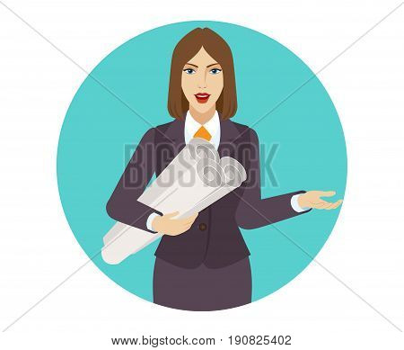 Businesswoman holding the project plans and gesturing. Portrait of businesswoman in a flat style. Vector illustration.
