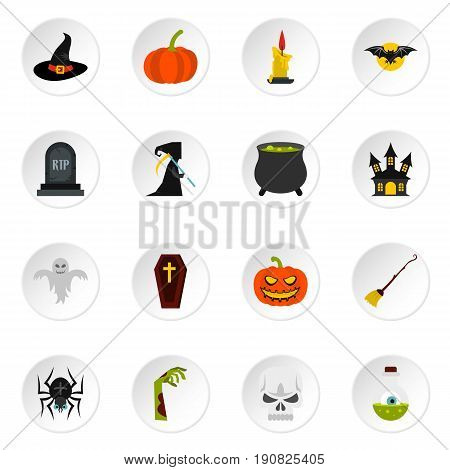Halloween icons set in flat style. Halloween elements set collection vector icons set illustration