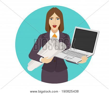 Businesswoman holding the project plans and a laptop notebook. Portrait of businesswoman in a flat style. Vector illustration.