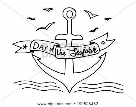 day of the seafarer lettering design. Vector calligraphy. Typography poster. Modern brush style