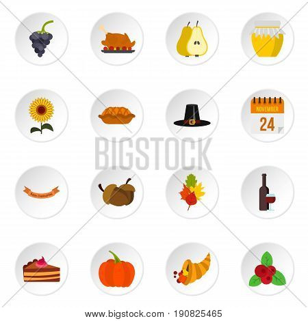 Thanksgiving icons set in flat style. Happy thanksgiving day set collection vector icons set illustration