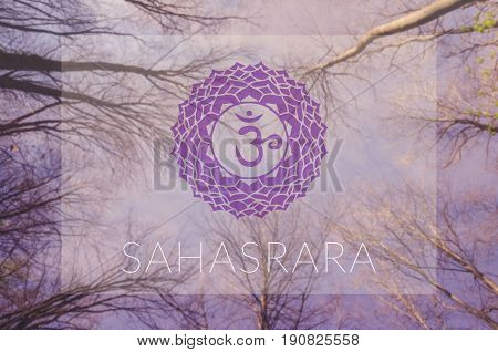 Sahasrara chakra symbol. Poster for yoga class with sky view.