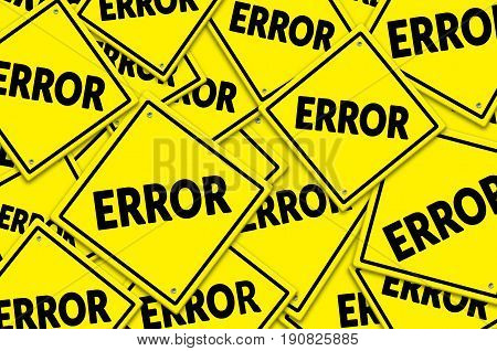 Error written on a yellow road traffic signs