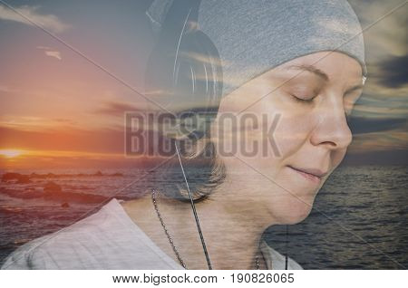 Portrait of hipster woman with headphones. Double exposure image.