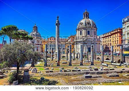 Forum Of Caesar In Rome, Italy. Architecture And Landmark Of Rom